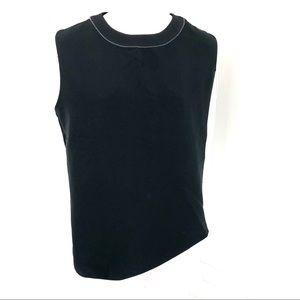 Zara Basic Black Blouse Asymmetrical Size Large